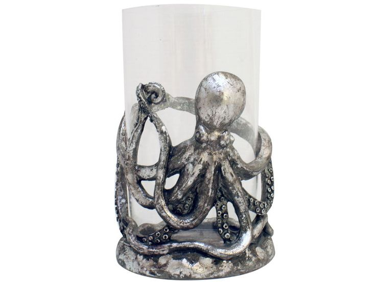 Silver Octopus Candle Holder / Glass Hurricane 19cm - nautical marine decor
