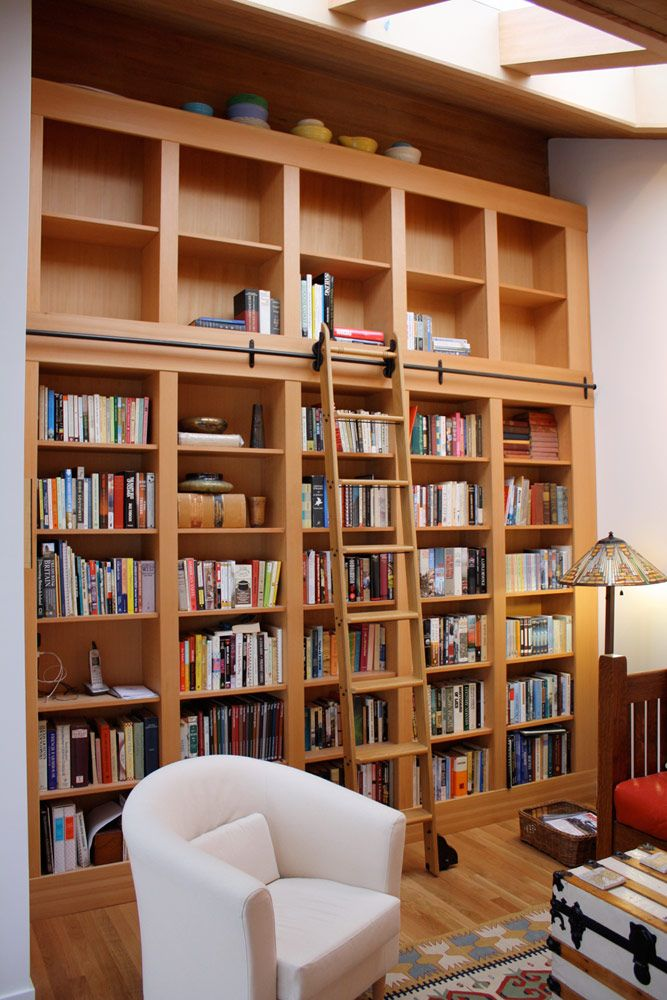 Built-in fir bookcase-with rolling ladder
