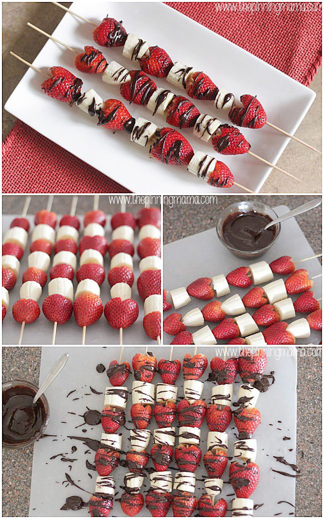 These make a perfect light and healthy dessert for Valentine's Day spring and summer! Chocolate covered strawberry and banana skewers,