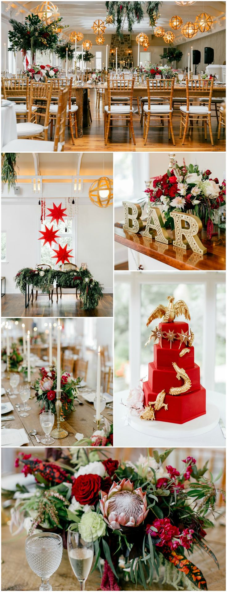Red wedding reception color palette, red wedding cake, red florals, luscious greenery, candles, bar sign, see the full wedding feature on borrowedandblue.com // Emily Wren Photography