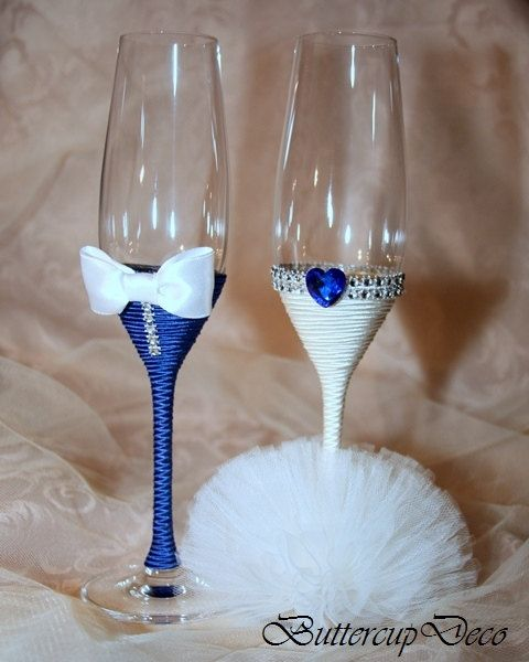Wedding Glasses; Set of 2 hand decorated Champagne Glasses for bride and groom…