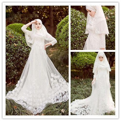 Cheap Vintage musulmano manica lunga abiti da sposa con hijab islamico plus size colorful libano abito da sposa…