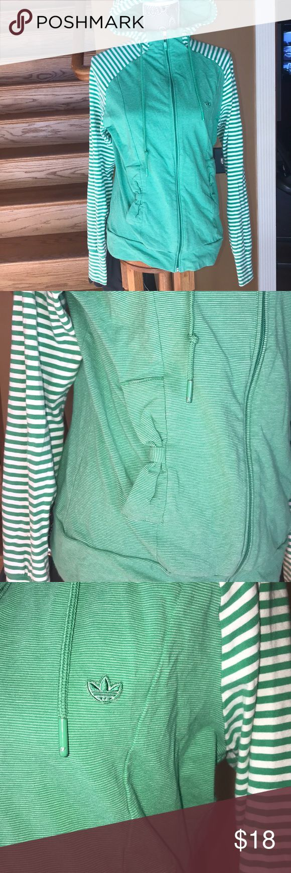 Adidas zip up hoodie Adidas zip up hoodie green and white size xl excellent condition adidas Tops Sweatshirts & Hoodies