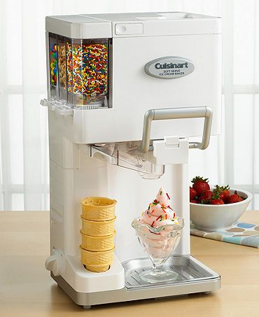 "Customize your cone with this ingenious soft serve ice cream maker that automatically adds up to three of your favorite mix-ins. Make a heaping 1-1/2"" quarts of fun, fresh ice cream in just 20 minutes"