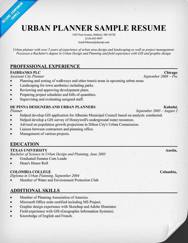 resume objective samples for urban planning