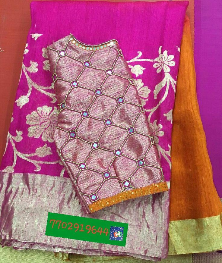 Matkajute saree with mirror work blouse 7702919644