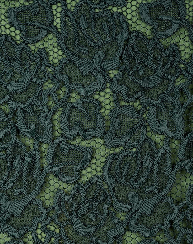 Ici Maintenant - guipure embroidery darkgreen Swiss made