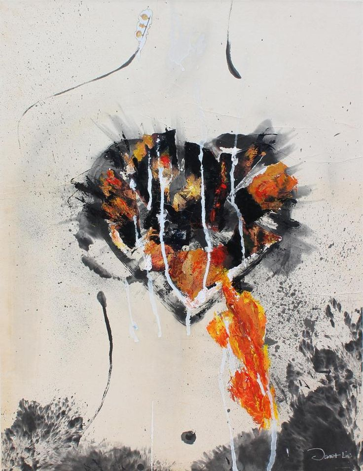 Rebuild Heart, 2001, 56x71cm<br> Ink/mixed media on rice paper/canvas