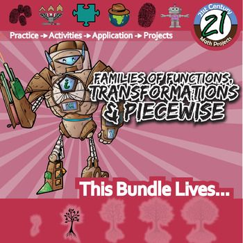 My Families of Functions, Transformation & Piecewise worksheets and activities all in a money saving bundle! You save 20% versus purchasing these separately. You can save time and money. Feel free to ask me any questions.Included in this set are the following products which includes all of my Families of Functions, Transformation & Piecewise Boot Camps, CSI:Whodunnit, CSI, and two of my 21st Century Math Projects.