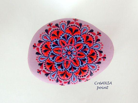 Painted Rocks Of Dot Painting On Mandala Stone For Yoga Studio Decor,  Interior Decoration And Garden Decoration