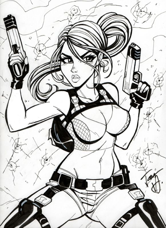 lara croft tomb raider josh howard comic art - Lara Croft Coloring Pages