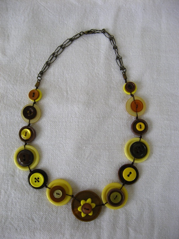 BUTTONS JEWELRY button necklace shade of brown & yellow by pupinka, $38.00