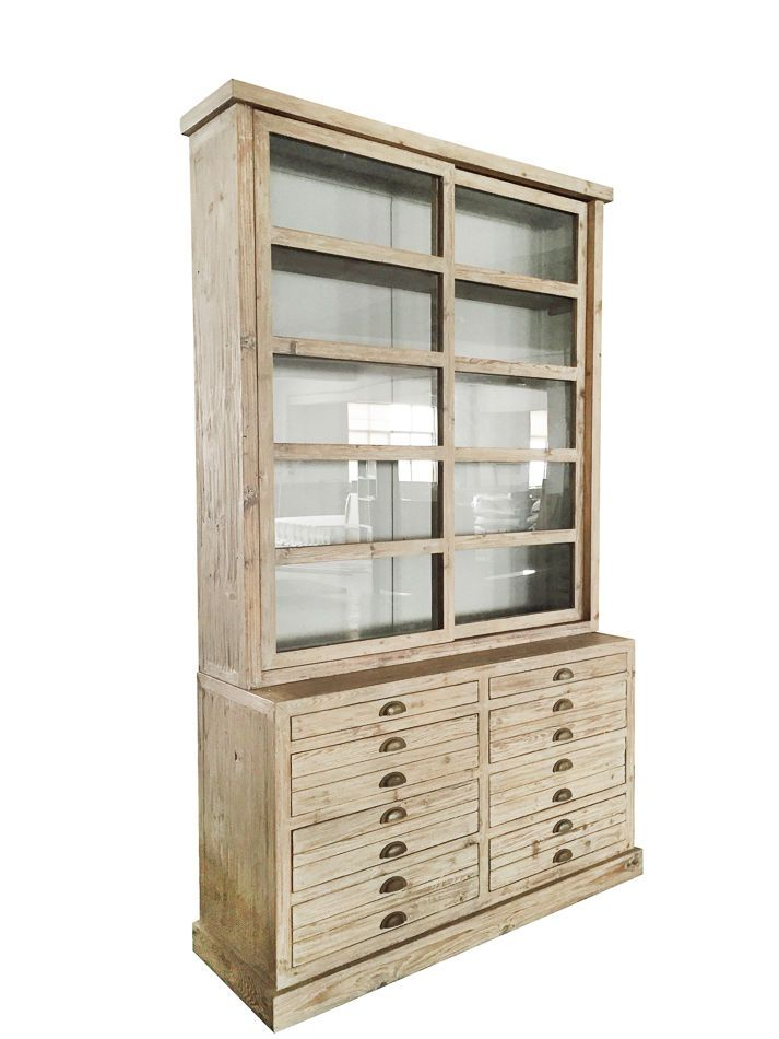 Display Cabinet Pine Sliding Glass Doors 8 Drawers Dining
