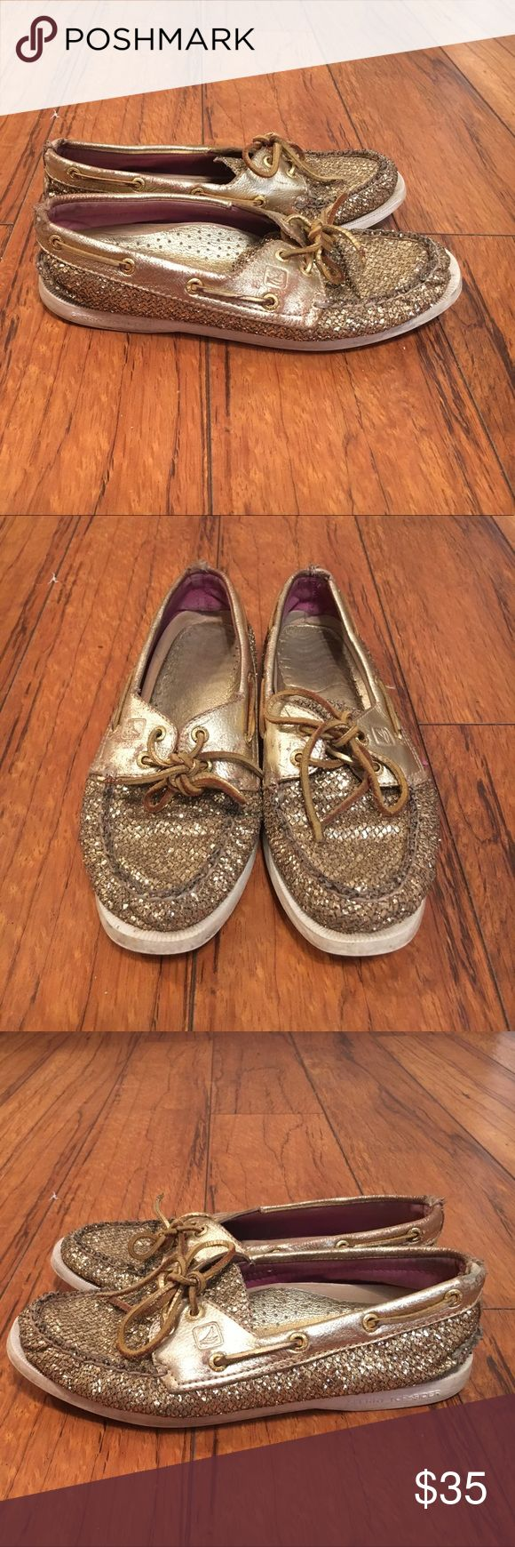 Gold Sperry Top-Sider Shoes Gold glitter Sperry Top-Sider shoes, size 7. Good condition and very cute!! Make an offer!:) Sperry Top-Sider Shoes