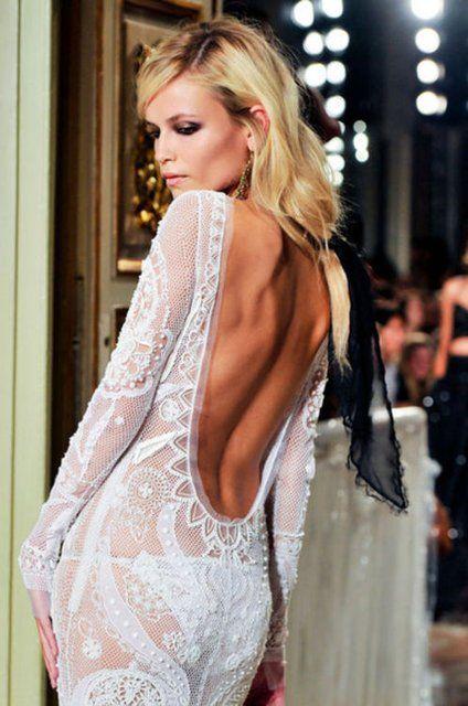 : Long Dresses, Emilio Pucci, Natasha Poly, Fashion, Backless Dresses, White Lace, Open Back, Emiliopucci, Lace Dresses