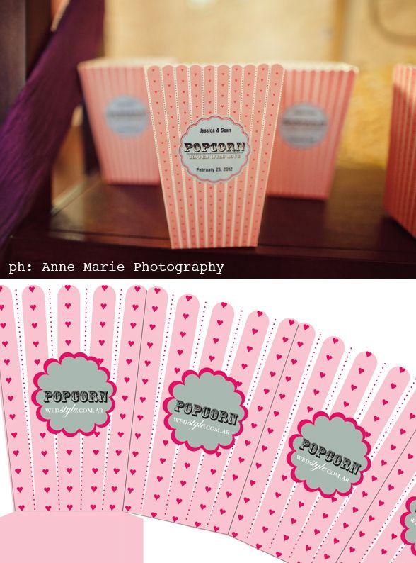 Popcorn box para tu casamiento *DO IT YOURSELF