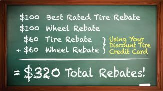 $320 in Total Rebates With Your Discount Tire Credit Card