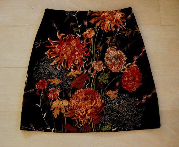 Chrysanten Vintage Fluweel rok A-lijn rok bloemen rok door LUREaLURE