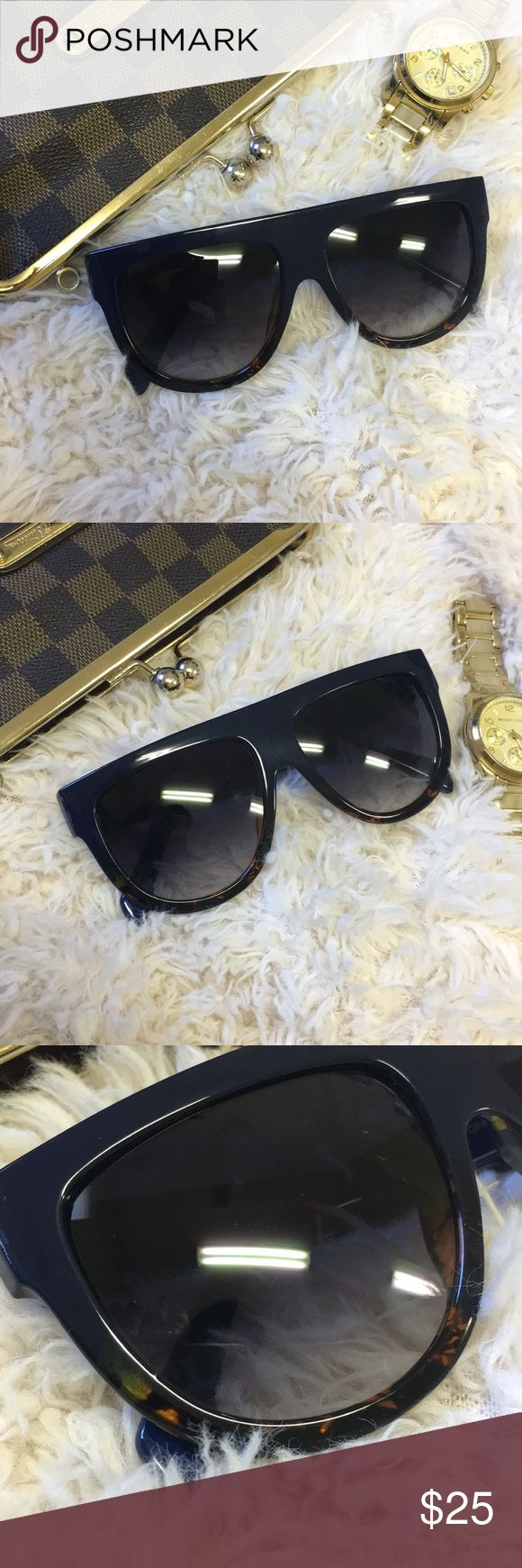 """""""Dark and Rich"""" Flat top Sunglasses .Buy with confidence!  I am a 100% possitive rated seller with 160+ combined great reviews.  •••••••••••••••••••••••••• Make an OFFER ⬇️⬇️⬇️⬇ Bundle to Save!  ••••••••••••••••••••••••• ABOUT THIS PRODUCT:  Similar to Kim Kardashian & Kylie Jenner Celine's • Navy Blue at the top \ Tortoise at the bottom  • UV Protective •Use for:sunny occasions •Condition: Brand New •Shipping: Ships within 2 days! Check our oversized sunglasses. cat eye sunglasses and…"""