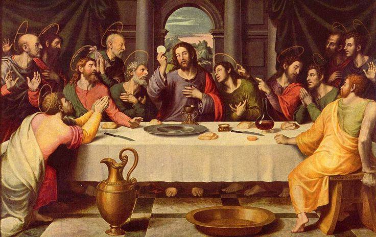 Judas Iscariot is often depicted with the bag of coins behind his back or simply with his hand behind his back...great deceiver... The Last Supper