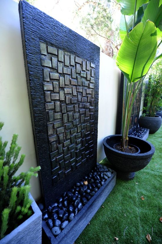 Copper Water Features - Water Features Direct (hmmm, with a cement or stone wall this isn't hard to do)