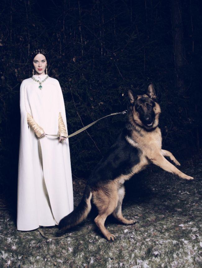 Russian designer and fashion it-girl Ulyana Sergeenko with a huge German shepherd in Garage Magazine.