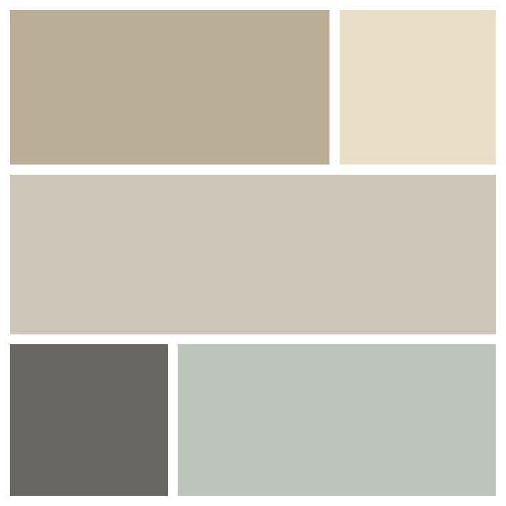 My first floor color palette, L-R from top row down: SW Universal Khaki (GR), BM Gentle Cream (Office), BM Revere Pewter (Foyer), BM Kendall Charcoal (DR), BM Tranquility (LR)