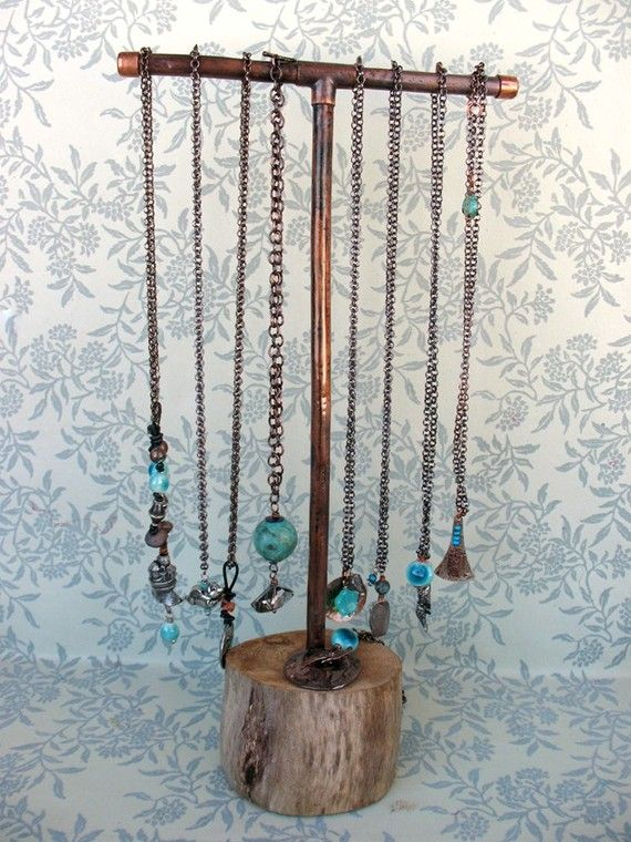 Salvaged Driftwood and Recycled Copper Jewelry by missficklemedia