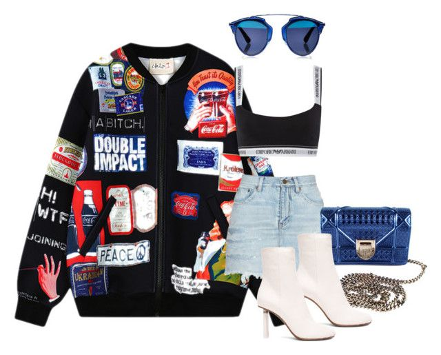 """mannequinxo x Double Impact // RiRi || Céline"" by xxxthebombshellfactoryxxx ❤ liked on Polyvore featuring Chicnova Fashion, Emporio Armani, Yves Saint Laurent, Christian Dior and Vetements"