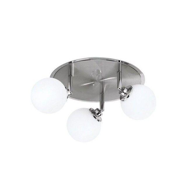 Ce plafonnier design Perles de Lunes est fait pour vous si vous aimez le design simple, sobre et fonctionnel. 120 W d'éclairage, 3 globes de verre blanc orientables, joli cercle de métal en métal brossé au centre, le tour en métal chromé pour le chic, en font un luminaire contemporain très polyvalent : on peut l'installer dans toutes les pièces !