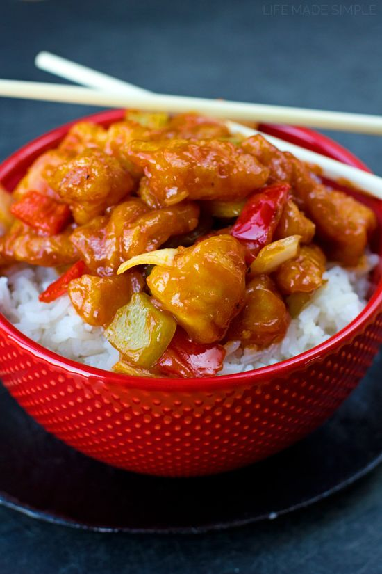 There's no need to order out! This better than takeout sweet and sour chicken is ready to go in a little over an hour!