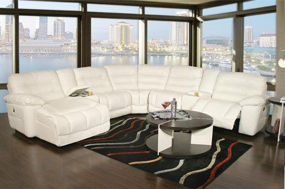 Best Expo Bone 7 Piece Power Reclining Leather Sectional 400 x 300