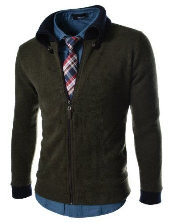 TheLees Men's Slim Fit Knitted Neck Point Cardigan