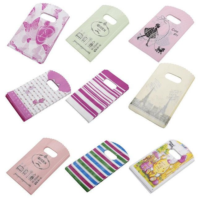 50pcs/lot 9 x 15cm Family Admission Package Pattern Shopping Bags Mini Plastic Gift Bags For Birthday Gift Package Random Color