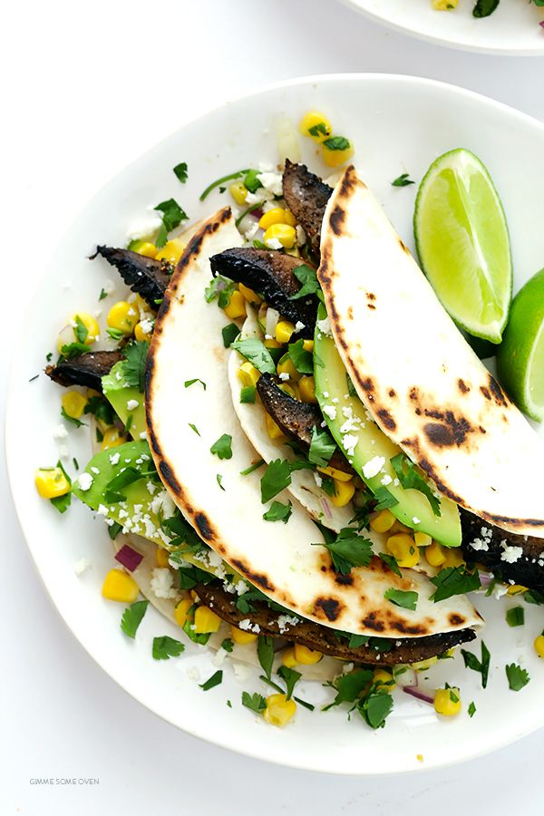 Roasted Portobello Tacos -- easy to make, nice and hearty, and absolutely delicious!   gimmesomeoven.com