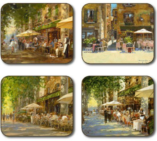 """Jason Mediterranean Summer Placemats - Set of 4 (Large) by Jason. $44.95. Hardboard, Cork backed. Durable, heat sealed surface. Gift Boxed. Heat resistant to 225ºF. Size: 17"""" x 11.5"""". Attractive top quality placemats by Jason of New Zealand. The hardboard and cork is sourced from renewable resources. The edges are heat sealed, the surface is smooth and the cork backing will protect your table. Just wipe clean with a damp cloth."""