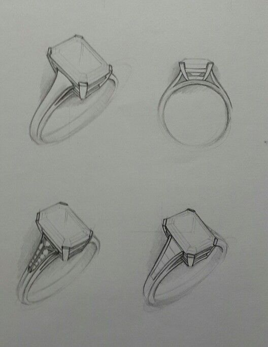 Three classic and modern designs for an Emerald Cut Stone. These designs can by made in platinum and gold. Gems we suggest are Diamonds, Tanzanite and Emeralds.