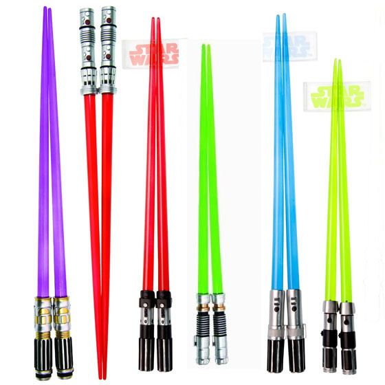 Star Wars Lightsaber Chopsticks Set :: So glad I own a pair; now I just want the purple ones!