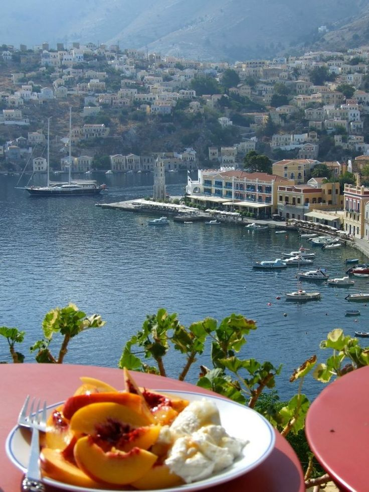 Symi breakfast and view