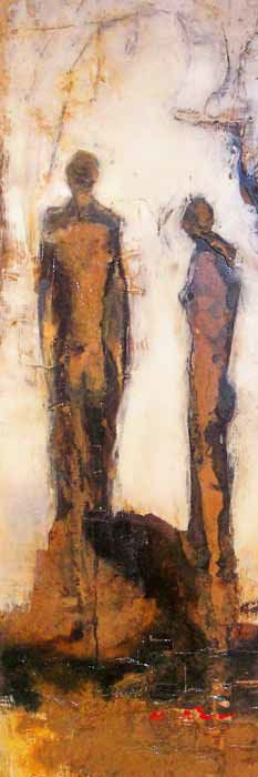 FELICE SHARP - CANOPY I - MIXED MEDIA ON PANEL - 60 X 24 INCHES
