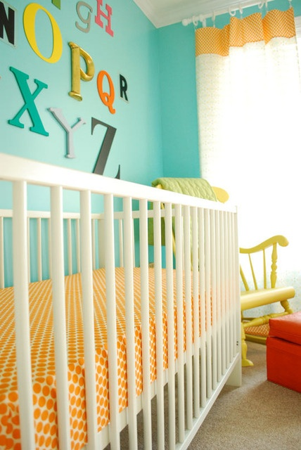 aqua and orange: Homes Tours, Rooms Idea, Polka Dots, Cribs Sheet, Color Schemes, Alphabet Wall,  Cot, Letters On Wall, Nurseries Idea