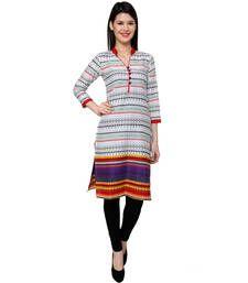 Buy White Casual Cotton Printed Kurti for Women kurtas-and-kurti online