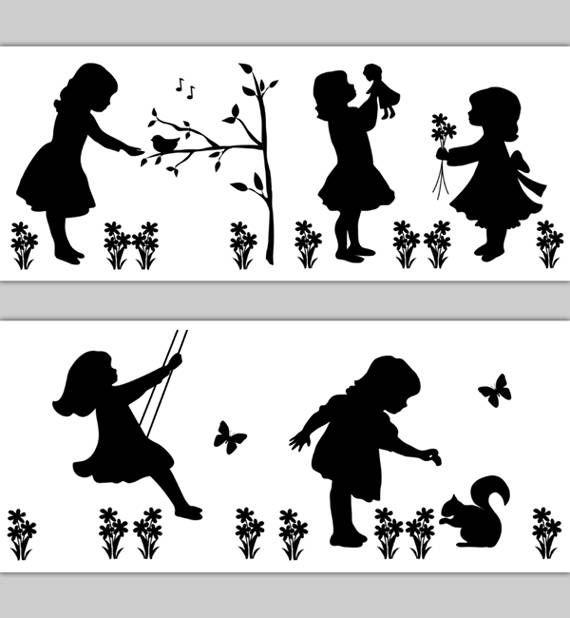 NURSERY BORDER DECALS Girls Playing Cameo Silhouette Vintage Floral Wall Art Decor Bird Singing Branch Feeding Squirrel Swinging Tree Doll