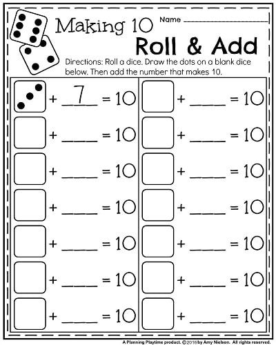 Kindergarten Math Worksheets for May - Making 10 Roll and Add