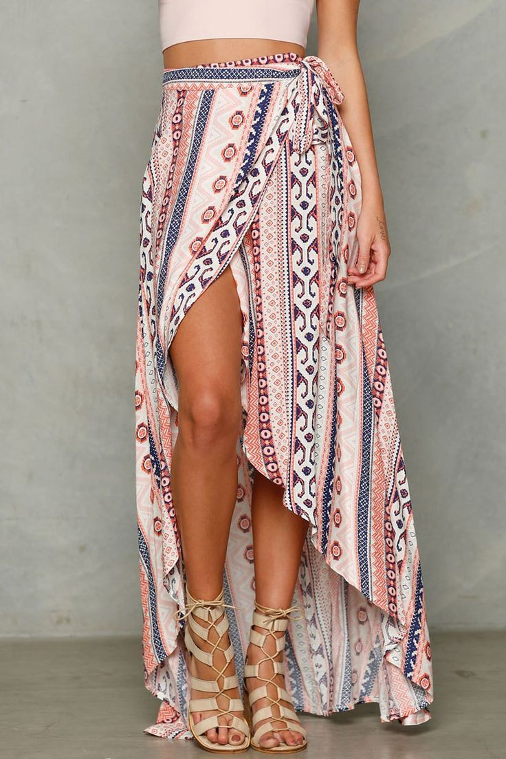 Print A Line Slit Skirt - completely love how this long wrap skirt is styled, with the sand-colored gladiator sandals and the pale pink crop top. this skirt will be so great in the summer, especially as a fun beach coverup