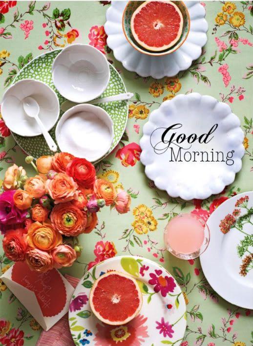 .: Mornings Breakfast, Tables Sets, Good Mornings, Colors Schemes, Martha Stewart, Vintage Rose, Gardens Parties, Mornings Sunshine, Flower