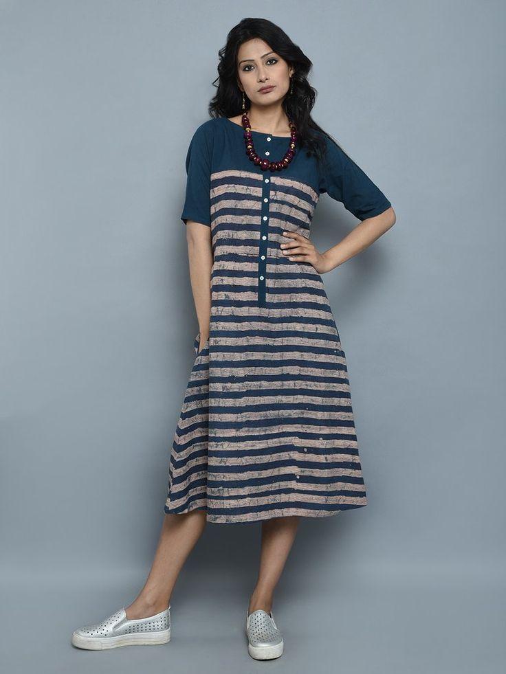 Indigo Cotton Ajrakh Stripes Tunic