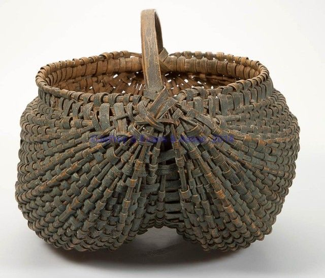 FINE VIRGINIA PAINTED RIB-TYPE WOVEN-SPLINT BASKET, white oak, kidney form with converging ribs, double-wrapped rim, and low arched handle. Exceptional original worn dry blue-green painted surface. Fourth quarter 19th century. Love This. ...~♥~