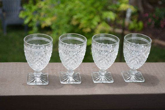 Vintage Stemware, Square Foot Stemware, Pressed Glass ...