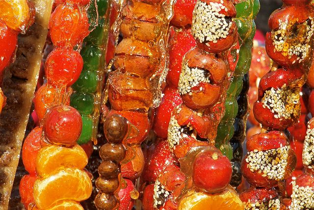 """Tanghulu"" -A new ""treat"" for me to try!  Sugar glazed fruit other than apples!  Tanghulu by itchydogimages - 1.5 million views. Woohoo!!, via Flickr - image only"